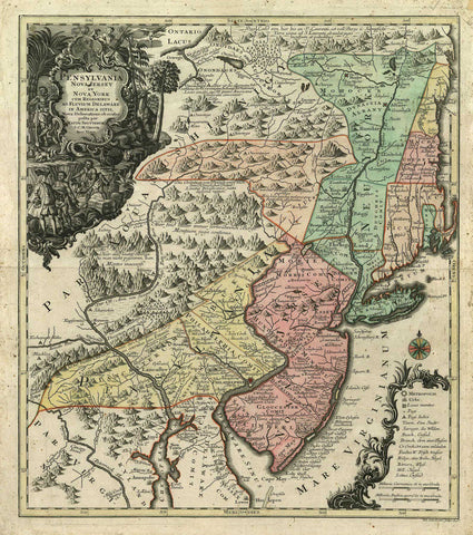 2494/1 Pennsylvania, New Jersey & New York, 1750, Seutter