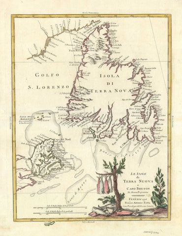 2514 Map of Newfoundland, 1778, Zatta