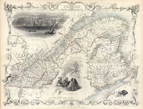 G2636 East Canada and New Brunswick, 1851, Tallis