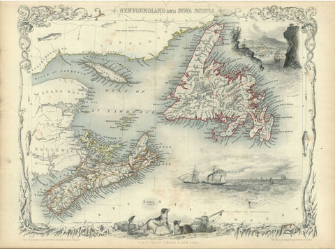 G2644 Newfoundland and Nova Scotia, 1851, Tallis