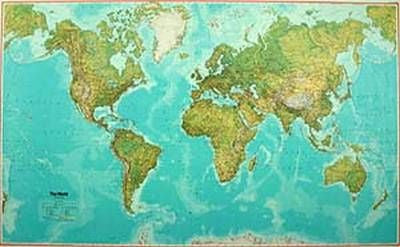 World. K &F Wall Map Atlantic centred. Physical, 33x51, paper