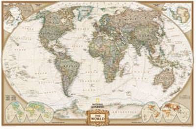 "World Executive Political Wall Map Laminated 46""x 30"""