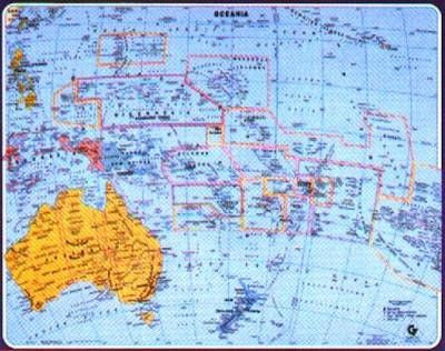 "Oceania Gabelli Political Wall Map 34"" x 27"""
