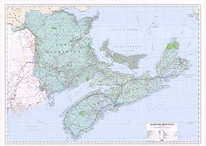 "Maritimes Provinces Wall Map 48"" x 36"""