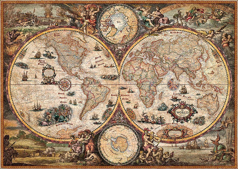 "World Vintage-Style Wall Map 54""x 38"""
