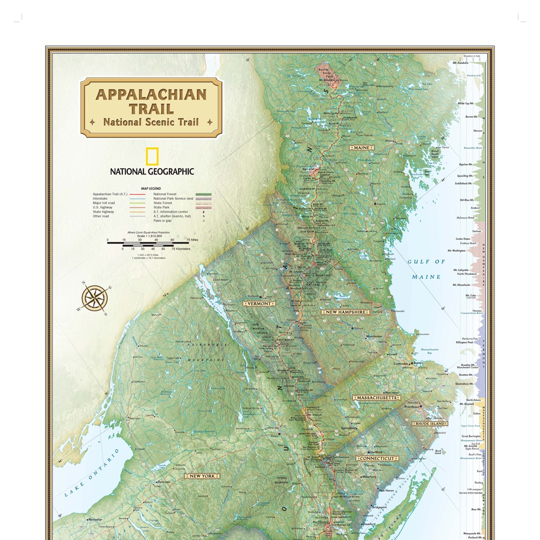 "Appalachian Trail Wall Map 18"" x 48"""