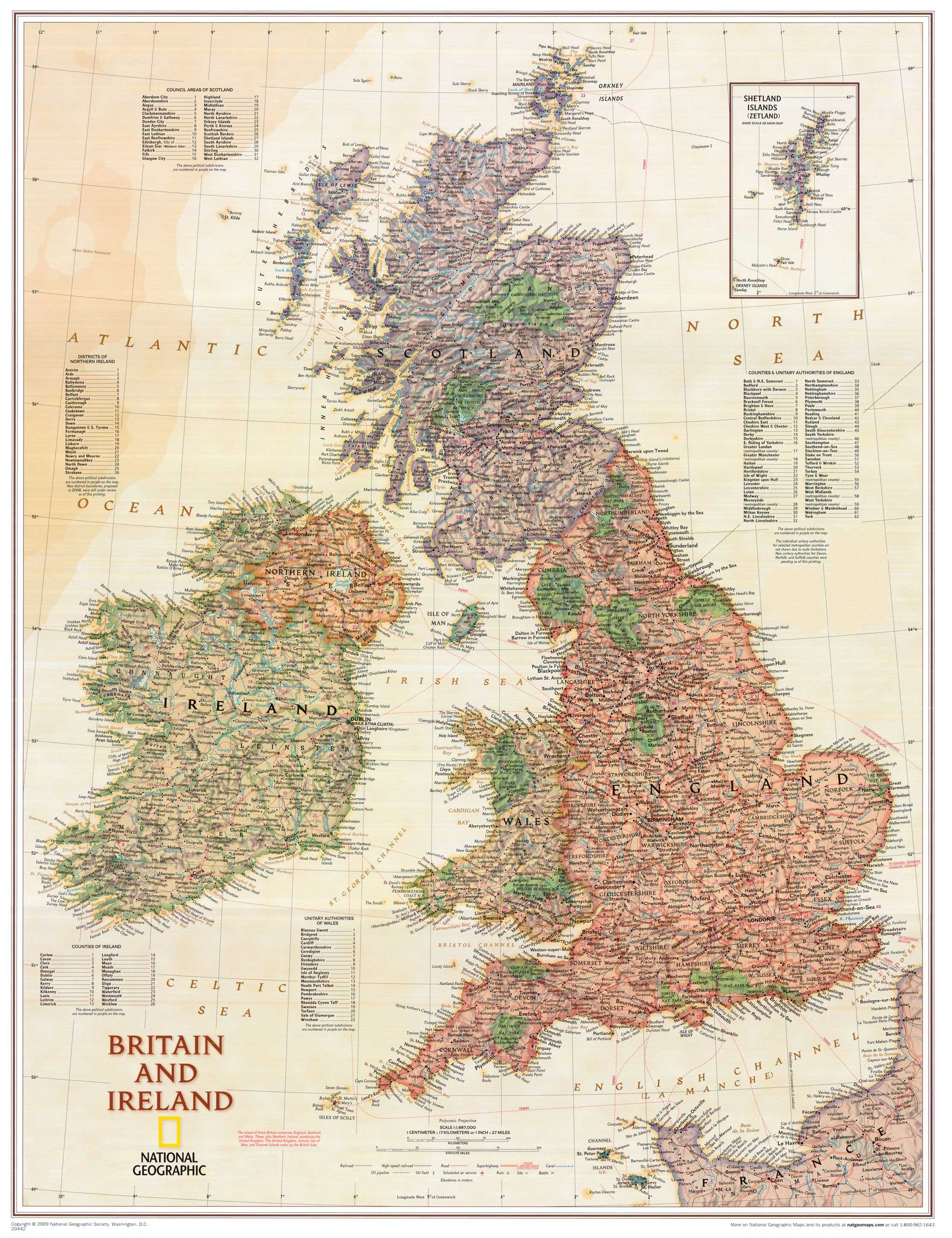 "Britain & Ireland Executive Wall Map 24"" X 30"""