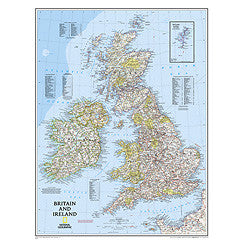 "Britain & Ireland Classic Wall Map 24"" X 30"""