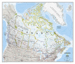"Canada Classic Laminated Wall Map  38""x 32"""