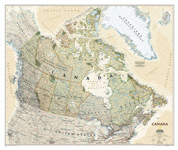 "Canada Executive Laminated Wall Map  38""x 32"""