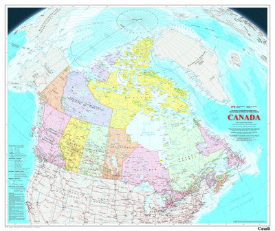 "Canada Political Wall Map  63""x 46"""