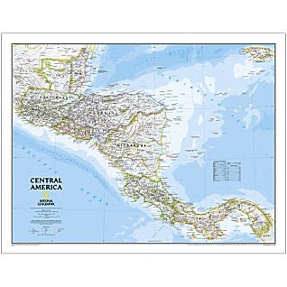 "Central America Classic Wall Map 29"" X 22"""