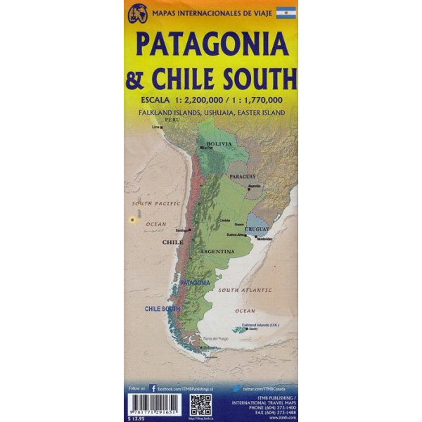 Chile South & Patagonia ITM Travel Map 2e