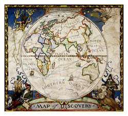 "Map of Discovery: Eastern Hemisphere Wall Map 19""x 21"""