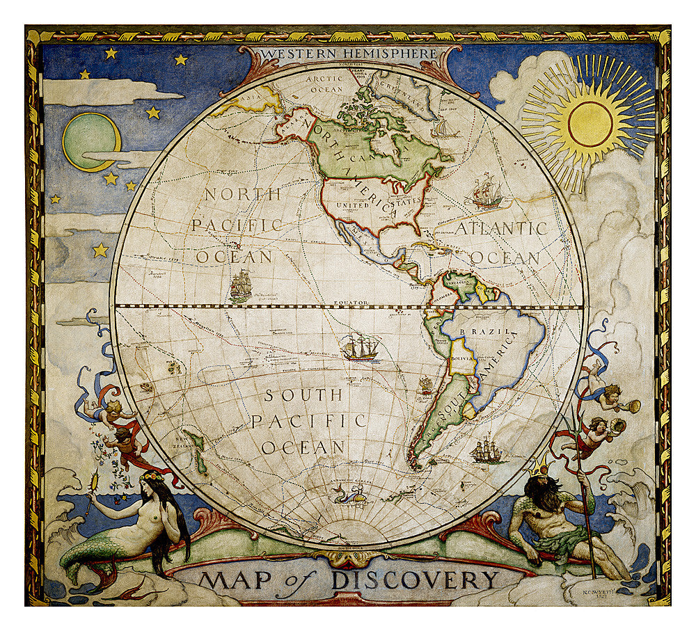 "Map of Discovery: Western Hemisphere Wall Map 19""x 21"""