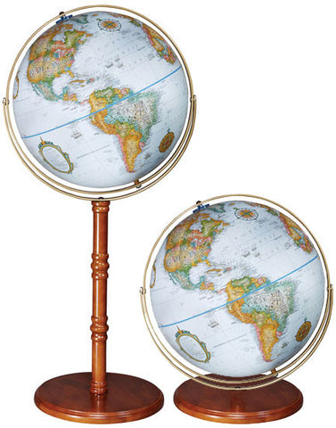 "Edinburg II 16"" Blue Ocean Political Floor Globe"