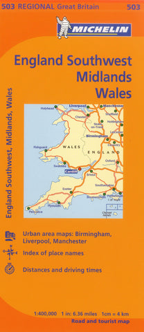 Wales, England Midlands & Southwest Michelin Map 503