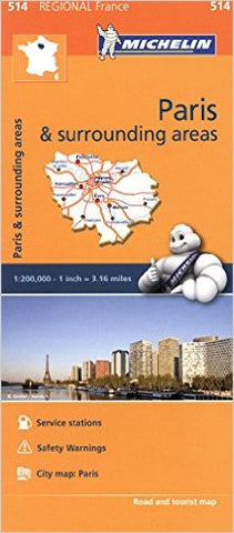 Paris & Surrounding Areas / Il-de-France Michelin Map 514