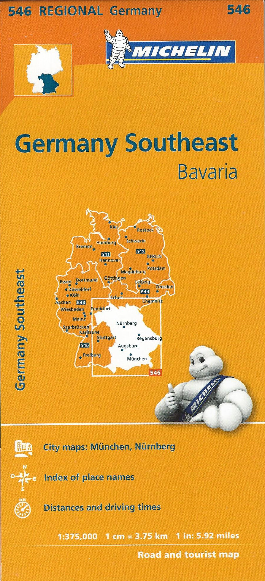Germany Southeast, Bavaria Michelin Map 546