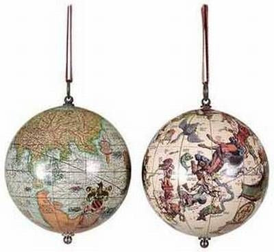1551 The Earth & The Heavens. Antique Globe Ornament. 3.25""