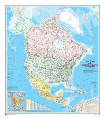 "North America Wall Map 34"" x 39"""
