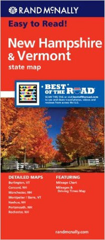 New Hampshire/Vermont Rand McNally State Map