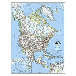"North America Classic Political Wall Map 24"" X 30"""