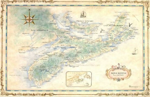"Nova Scotia Antique Style Wall Map 24"" x 18"""