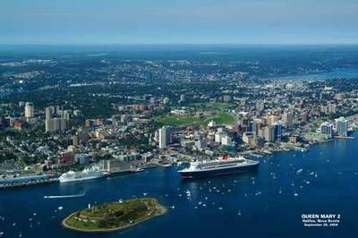 "Halifax Harbour / Queen Mary 2 Poster 6""x 9"""