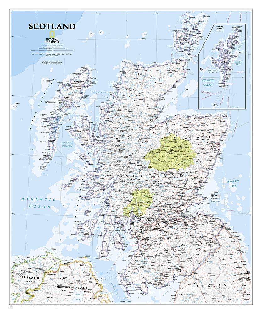 "Scotland Classic Wall Map 30"" X 36"""