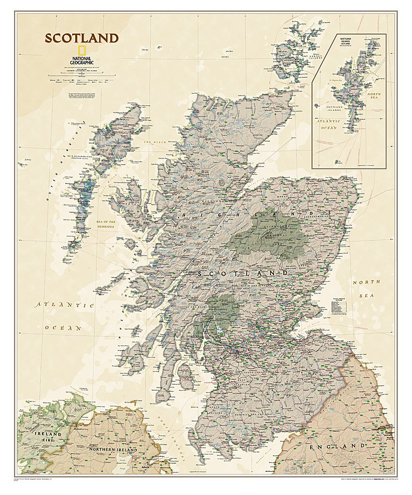 "Scotland Executive Wall Map 30"" X 36"""