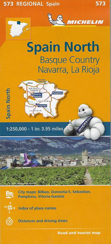 Map Of Spain With Distances.Spain North Basque Country Navarra La Rioja Michelin Map 573