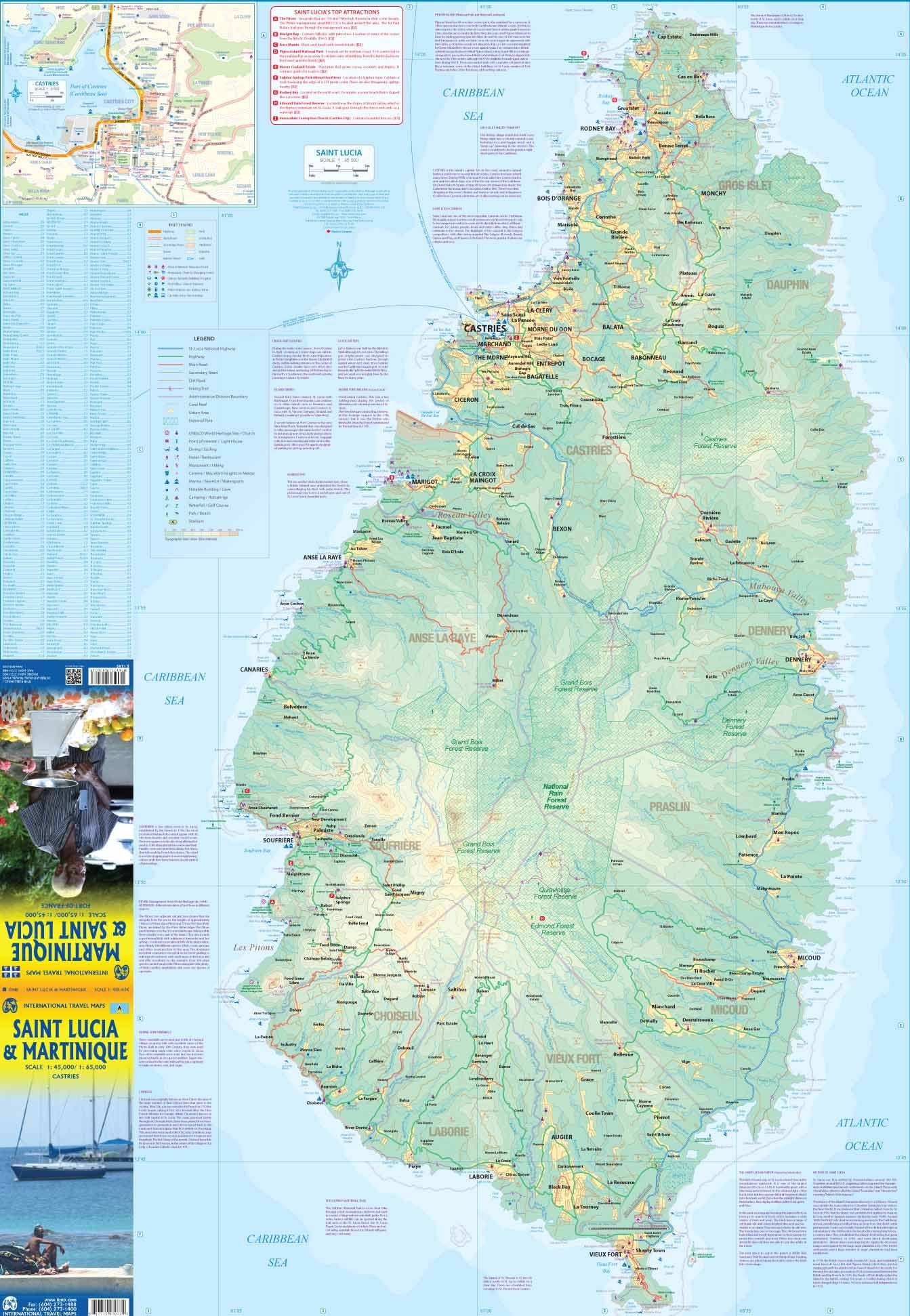 Saint Lucia & Martinique  ITM Travel Map 2e