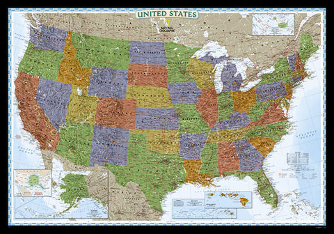 "USA Decorator Political Wall Map 43"" X 30"""
