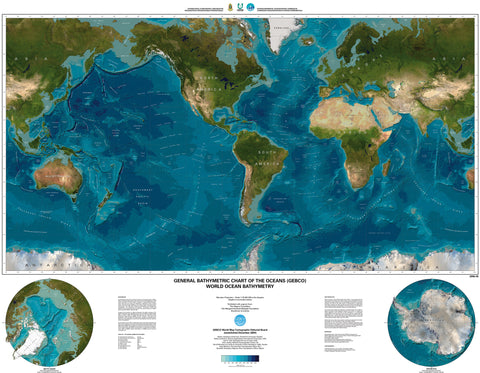 "General Bathymetric Chart of the Ocean Wall Map 51""x 39"""