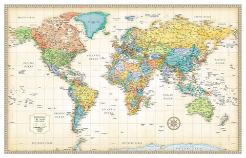 "World Classic Edition Wall Map 50"" x 32"""