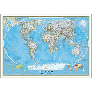 "World Classic Political Wall Map Laminated 70"" X 48"""