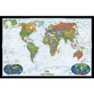 "World Decorator Political Wall Map 46"" X 30"""