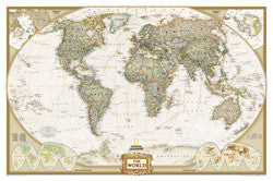 "World Executive Political Wall Map Laminated 73""x 48"""