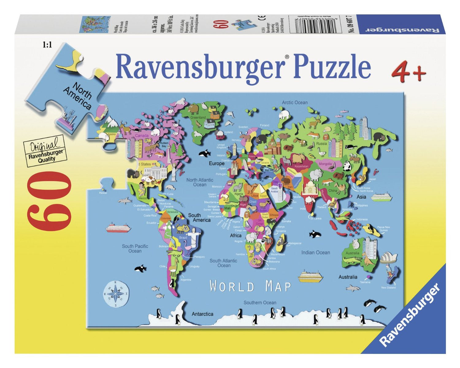 World Map Kid's Puzzle 60 pc