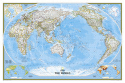 "World Classic Pacific Centered Wall Map 46"" x 30"""