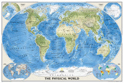 "World Physical Wall Map Laminated 43"" X 30"""