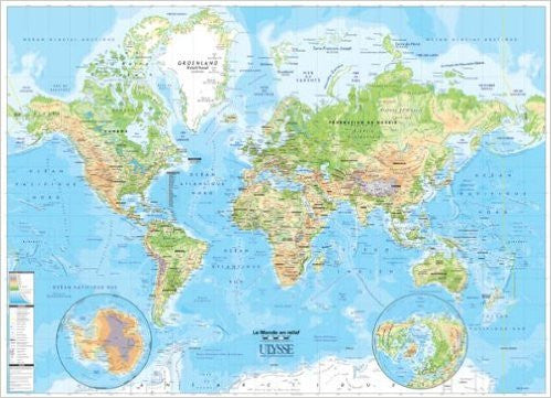 "World Physical Wall Map 37""x 27"""