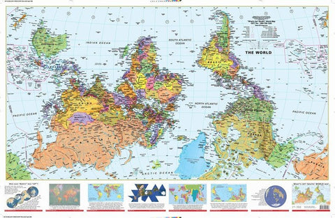 "What's Up South World Wall Map 56""x 35"""