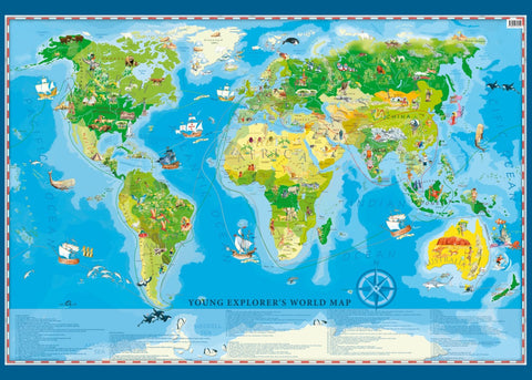 "Young Explorer's World Wall Map 55""x 39"""
