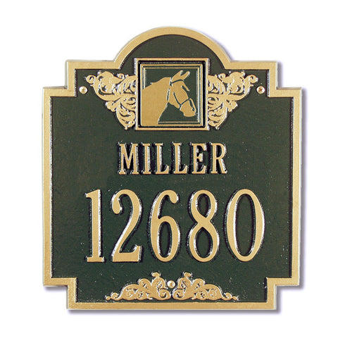 Horse Head Monogram Standard Wall Plaque Two Line