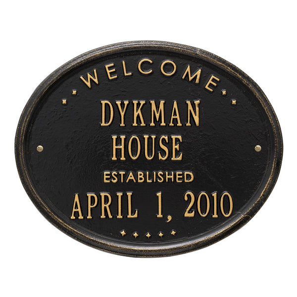 "Oval ""Welcome House Established""  Standard Wall Plaque Two Line"