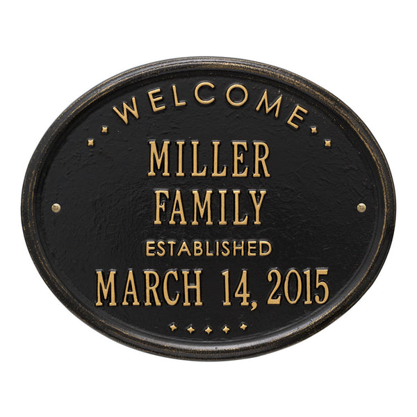 "Oval ""Welcome Family Established""  Standard Wall Plaque Two Line"