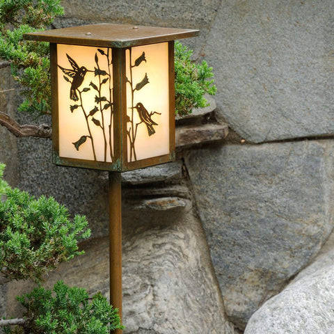 Hummingbird Lantern Light - Flat Roof - Post