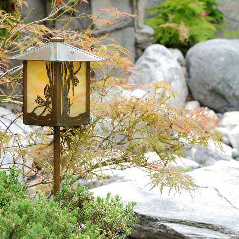 Dragonfly Lantern Light - Pitched Roof - Post
